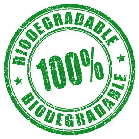 Illustration pour 100 timbre biodégradable isolé sur fond blanc - image libre de droit
