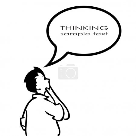 Illustration for Thinking person with thought bubble - Royalty Free Image
