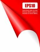 Red folded page corner vector illustration