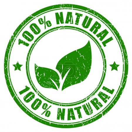 100 natural stamp on white background...