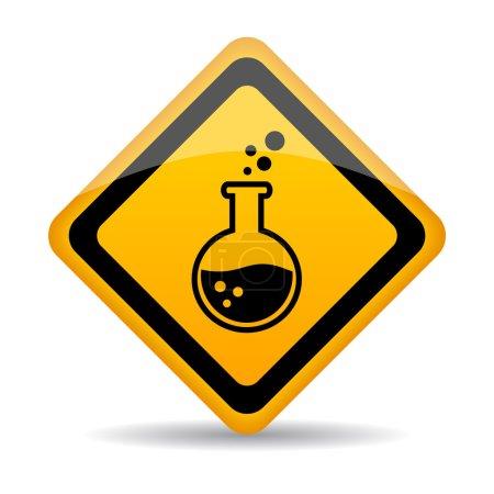 Illustration pour Danger produits chimiques signe d'avertissement sur fond blanc - image libre de droit