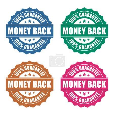 Illustration for Money back guarantee icon on white background - Royalty Free Image