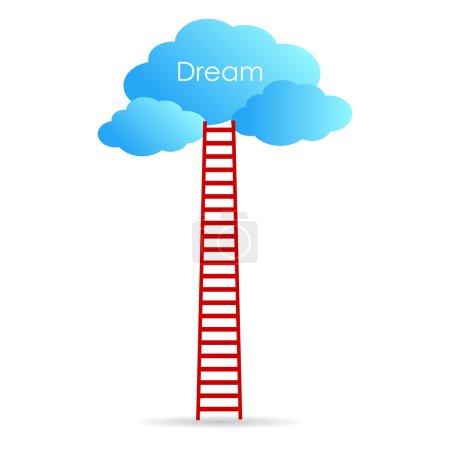 Illustration pour Atteindre votre concept de rêve sur fond blanc - image libre de droit