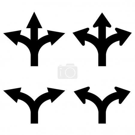 Two and three way arrows set vector illustration i...