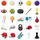 Sport game icons set, cartoon style
