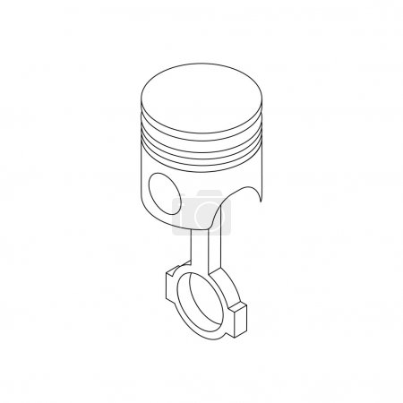 Piston and connecting rod assembly icon in isometr...