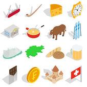 Switzerland icons set isometric 3d style