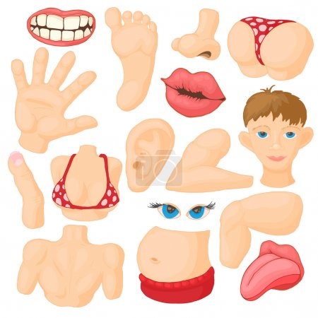 Illustration for Human body parts icons set in cartoon style isolated on white background - Royalty Free Image