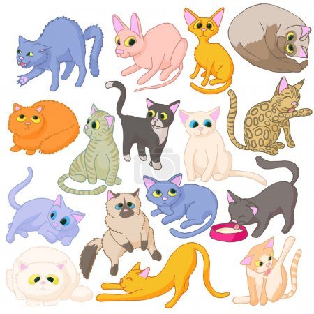 Illustration for Cat icons set in cartoon style isolated on white background - Royalty Free Image