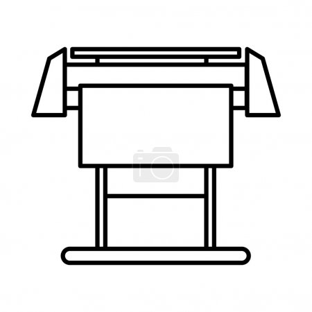 Illustration for Large format inkjet printer icon in outline style isolated on white background - Royalty Free Image