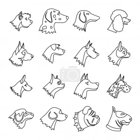 Dog Icons set, outline style