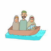 Refugees in a boat icon cartoon style