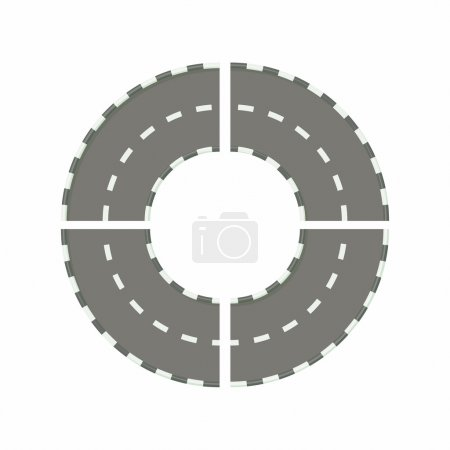 Asphalted road circle icon in cartoon style on a w...