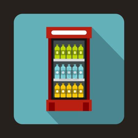 Illustration pour Réfrigérateur avec boissons icône de boissons dans un style plat sur un fond bleu clair - image libre de droit