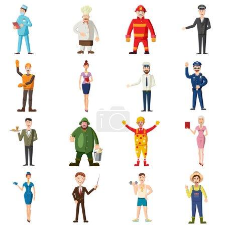 Photo pour Icônes de professions définies dans le style de dessin animé. Collection de travailleurs illustration vectorielle isolée - image libre de droit