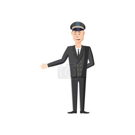 Illustration pour Icône de chauffeur en style dessin animé sur fond blanc - image libre de droit