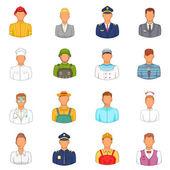 Set di icone di professioni, stile cartoon