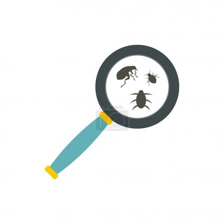 Insect parasites under magnifying glass icon