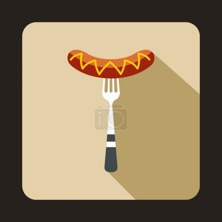 Grilled Sausage on a fork icon in flat style isola...
