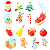 Christmas icons set isometric 3d style
