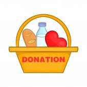Donation box with food icon cartoon style