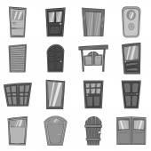 Door icons set in black monochrome style