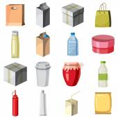 Package container icons set cartoon style