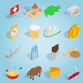 Switzerland set icons isometric 3d style
