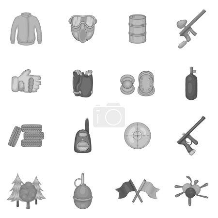 Paintball icons set, black monochrome style