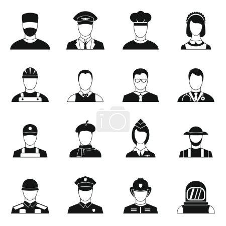Photo pour Icônes de professions définies dans un style simple. Activités humaines set collection vectoriel illustration - image libre de droit