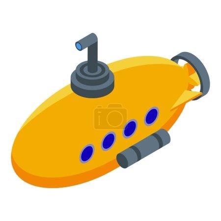 Icône de bathyscaphe aquatique, style isométrique