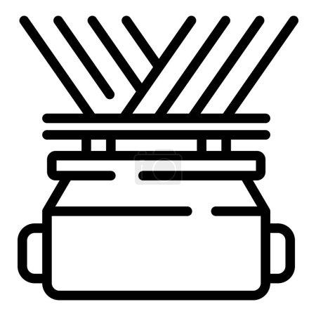 Illustration pour Icône de fabrication de fil. Icône vectorielle de fabrication de fil de contour pour la conception Web isolé sur fond blanc - image libre de droit