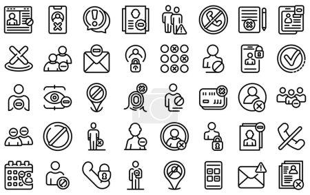 Illustration pour Icônes de la liste noire réglées. Aperçu ensemble d'icônes vectorielles de liste noire pour la conception web isolé sur fond blanc - image libre de droit