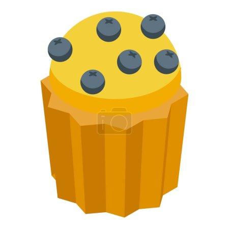 Illustration pour Icône muffin aux baies. Isométrique de Berry muffin vecteur icône pour web design isolé sur fond blanc - image libre de droit
