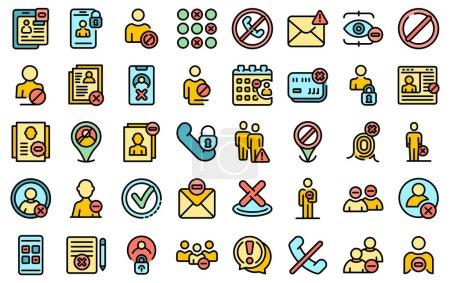 Illustration pour Icônes de la liste noire réglées. Aperçu ensemble d'icônes vectorielles liste noire ligne mince couleur plat isolé sur blanc - image libre de droit