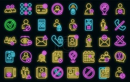 Illustration pour Icônes de la liste noire réglées. Ensemble de contours d'icônes vectorielles de liste noire couleur néon sur noir - image libre de droit