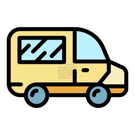 Illustration pour Icône d'ambulance. contour ambulance vecteur icône couleur plat isolé - image libre de droit