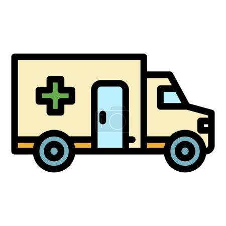 Illustration pour Icône de transport ambulancier. Aperçu ambulance vecteur icône couleur plat isolé - image libre de droit