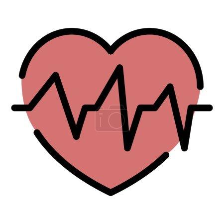 Illustration pour Icône battement de cœur. contour coeur battement vectoriel icône couleur plat isolé - image libre de droit
