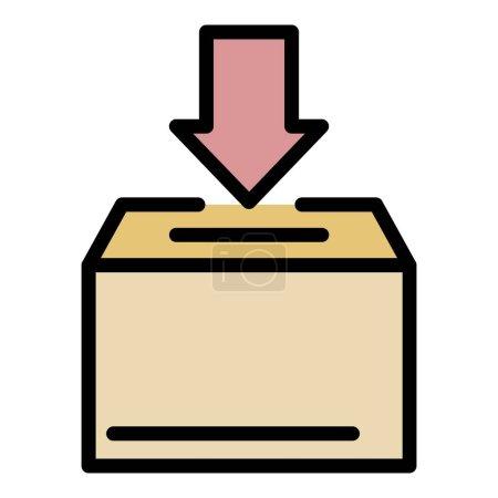 Illustration pour Icône boîte de don. contour boîte de don vecteur icône couleur plat isolé - image libre de droit