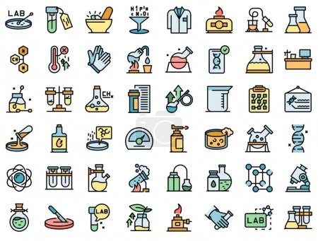 Illustration for Laboratory research icons set outline vector. Dna science. Microscope chemistry - Royalty Free Image