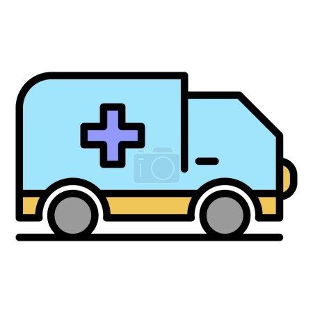 Illustration pour Icône de voiture d'ambulance. contour ambulance voiture vecteur icône couleur plat isolé - image libre de droit