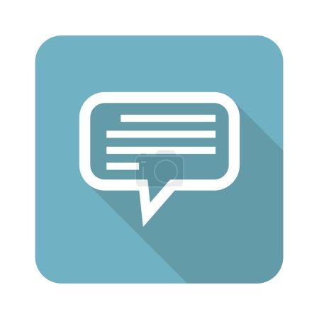 Ilustración de Plaza de icono con la burbuja de chat con texto, aislado en blanco - Imagen libre de derechos