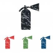 Fire extinguisher grunge icon set