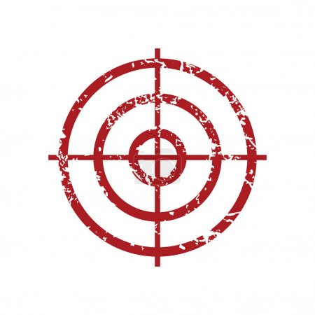Red grunge icon with image of aim, isolated on whi...
