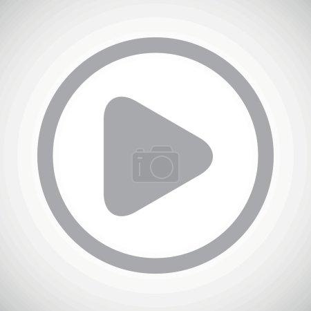 Illustration pour Image grise du bouton de jeu dans le cercle, sur le fond blanc de gradient - image libre de droit