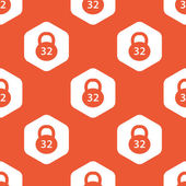 Image of 32 kg dumbbell in white hexagon repeated on orange background
