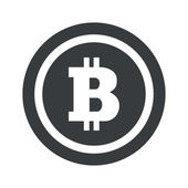 Bitcoin symbol in circle on black circle isolated on white
