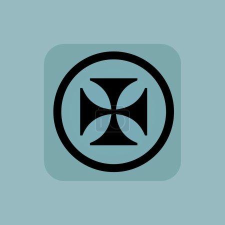 Pale blue maltese cross sign