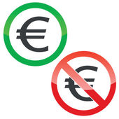 Allowed and forbidden signs with euro symbol isolated on white